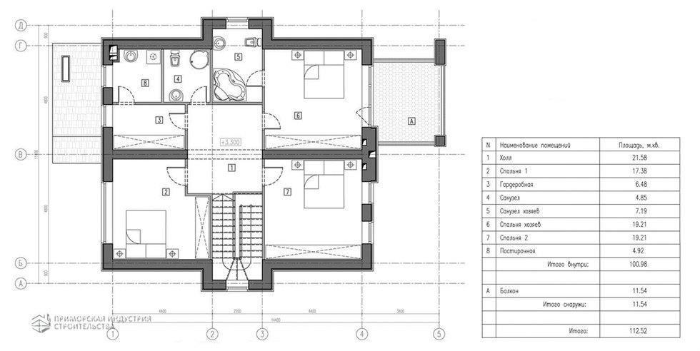 Планировка второго этажа проекта дома A-001