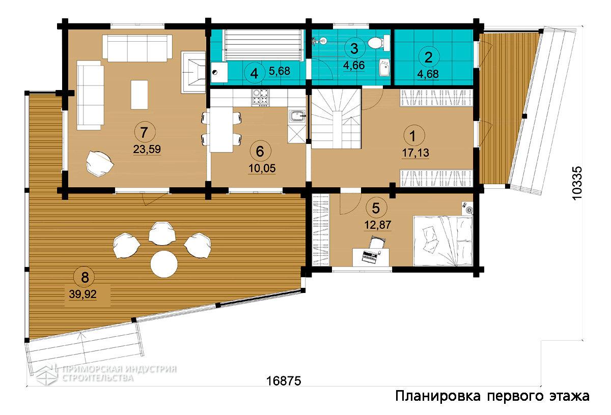 Планировка первого этажа деревянного дома BR-802