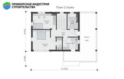 Планировка второго этажа дома B-003