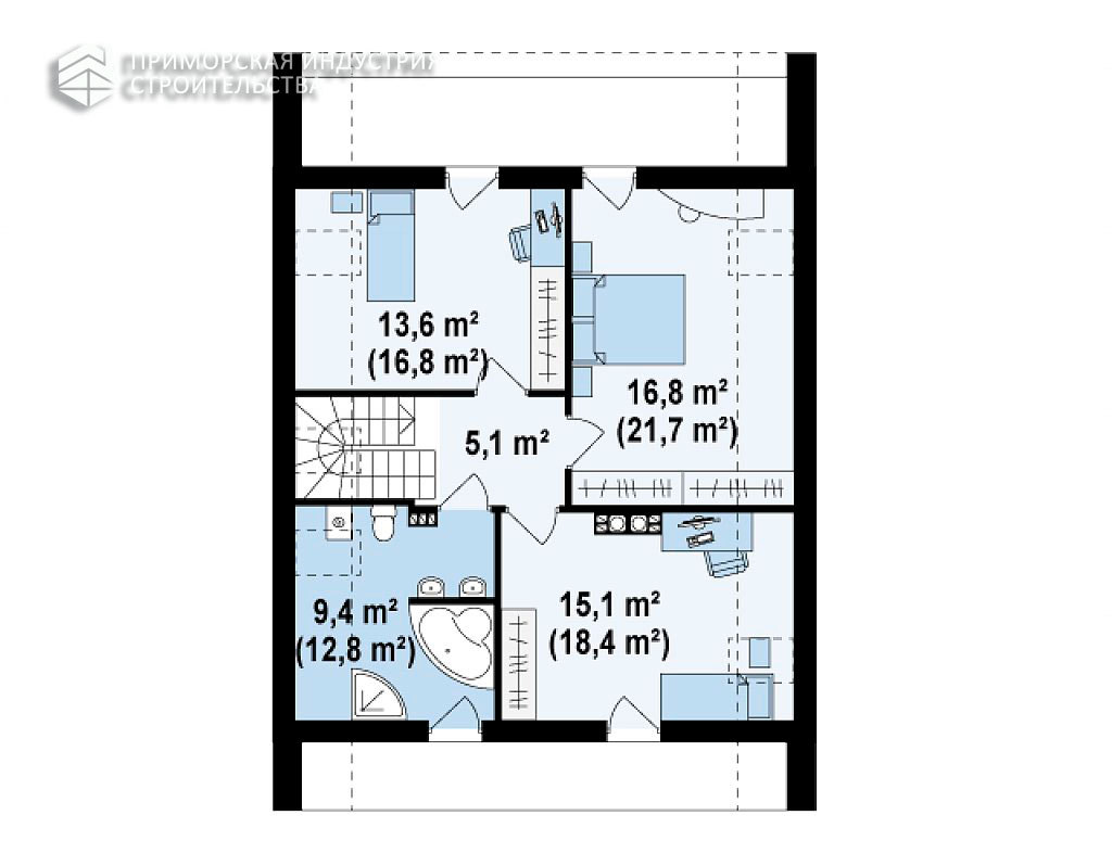 Планировка второго этажа дома ANGAR-004