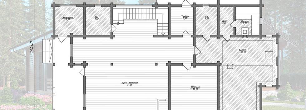 Планировка первого этажа дома из клееного бруса KANAD-071