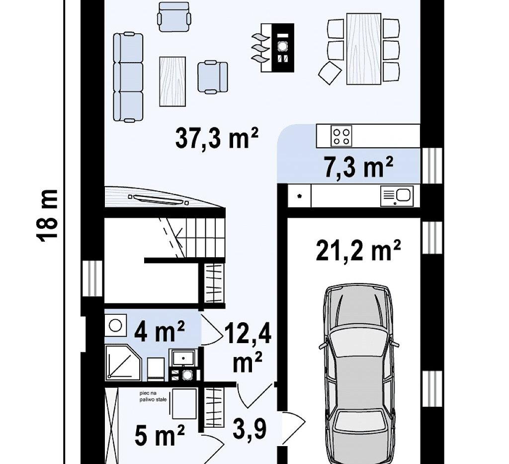 Планировка дома ангарного типа ANGAR-003