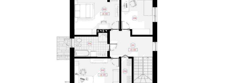 Планировка первого этажа дома S-003