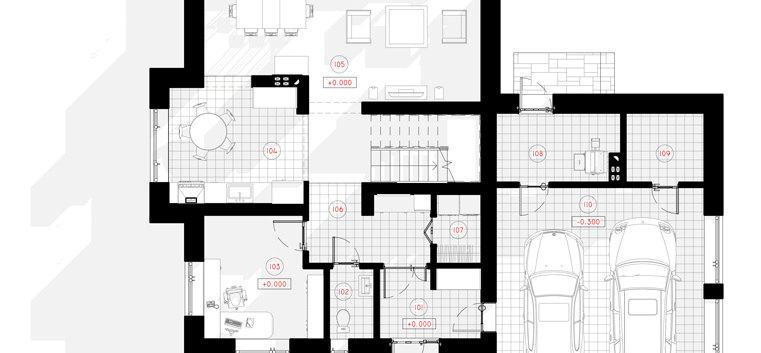Поланировка первого этажа дома G-004