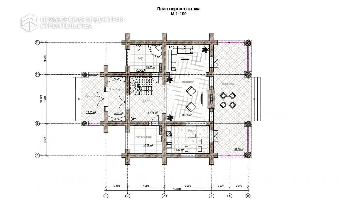 Планировка первого этажа дома KANAD-005