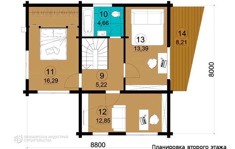 Планировка второго этажа деревянного дома BR-802
