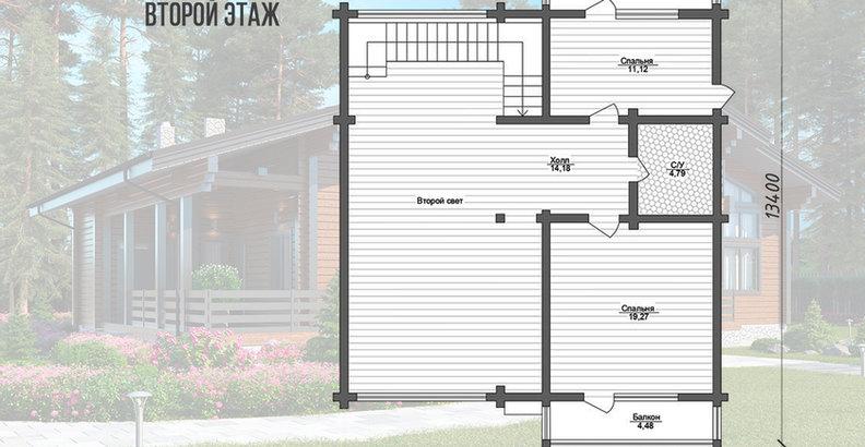 Планировка второго этажа дома из клееного бруса KANAD-071