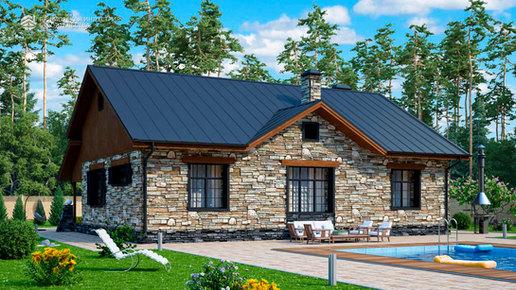 Проект загородного дома с камином HAUS-0-09