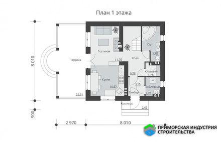 Планировка второго этажа дома B-011