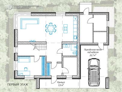 Планировка первого этажа дома AP-001