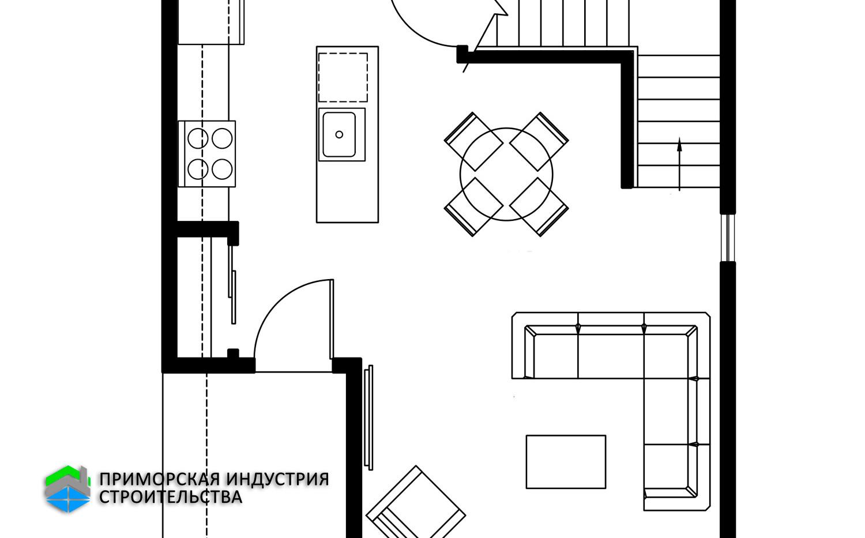 Планировка первого этажа дома F-006