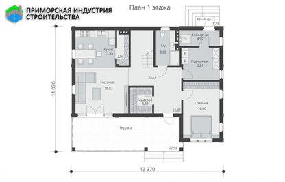 Планировка первого этажа дома B-003