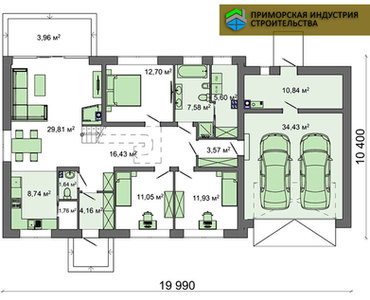 Планировка одноэтажного дома H-006