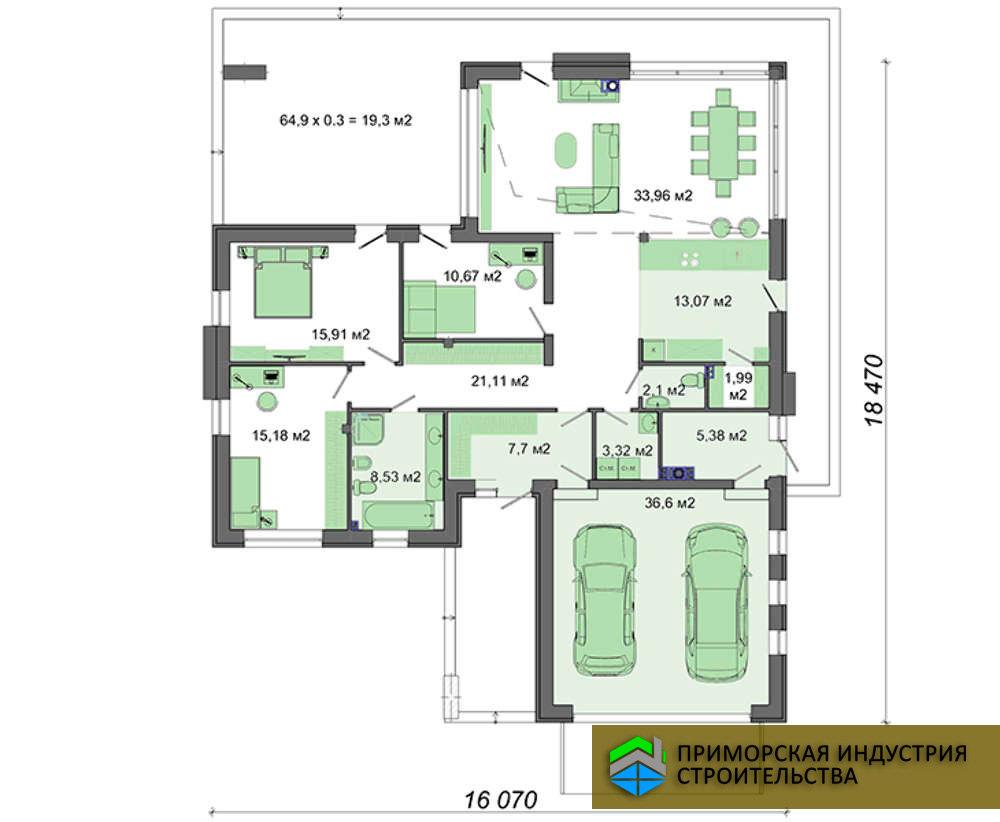 Планировка одноэтажного дома H-001