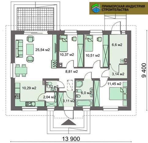 Планировка одноэтажного дома H-003