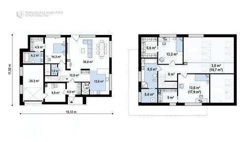 Планировка современного дома ANGAR-009