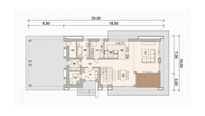 Планиока современного дома ANGAR-014