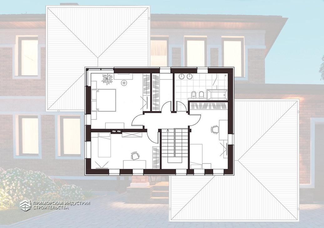 Планировка второго этажа кирпичного дома BR-701