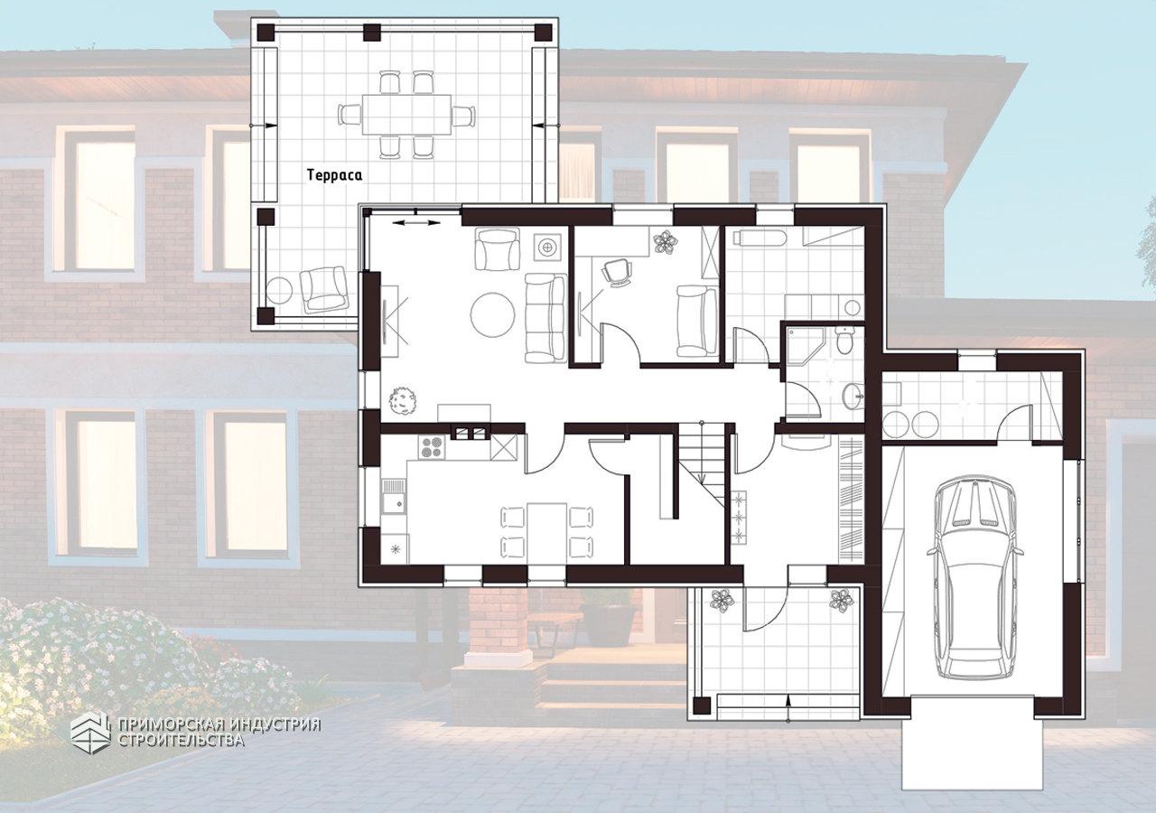 Планировка первого этажа кирпичного дома BR-701