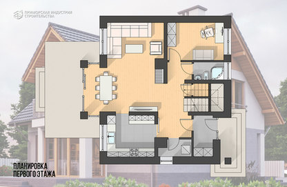 Планировка первого этажа дома HR-021