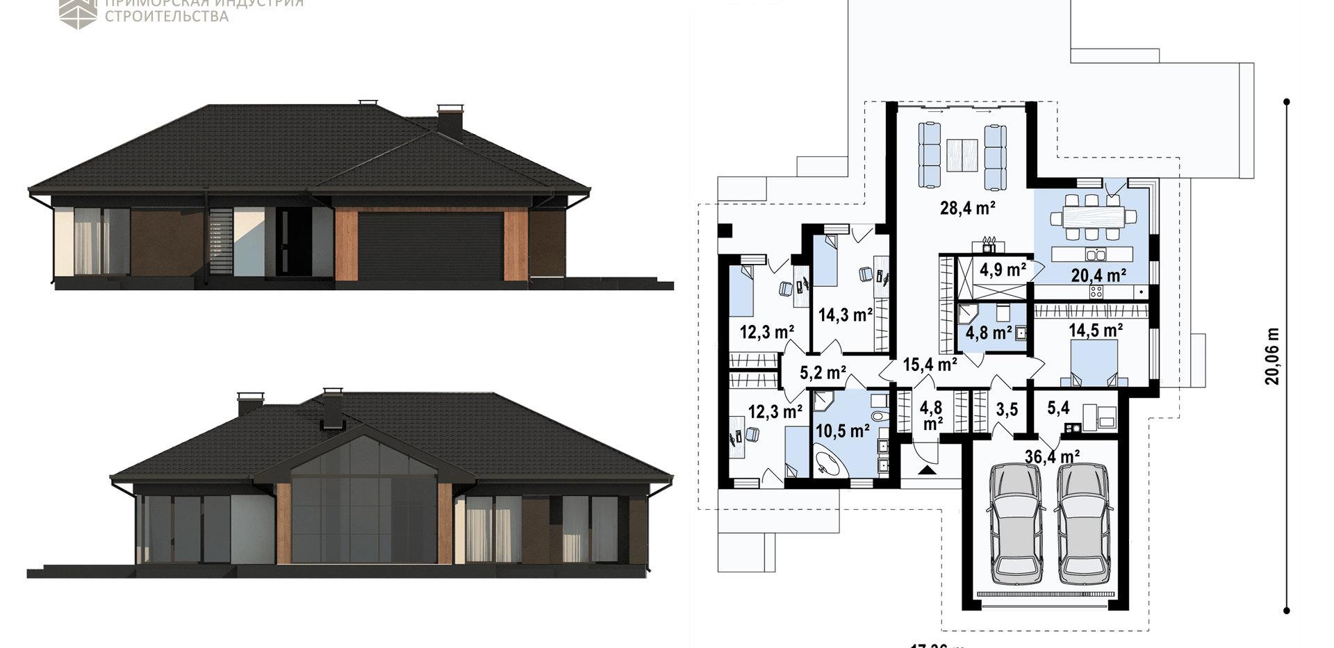 Планировка современного дома SHALE-003