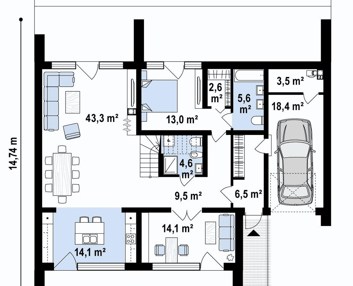 Планировка комнат дома ангарного типа
