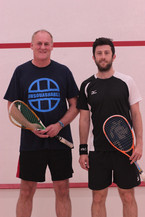 Dave Cookson from Clayton Green Squash Club with Daryl Selby at the 2016 Selby /  Pilley Exhibition