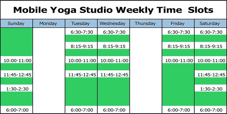 Big Island Mobile Yoga Studio Weekly Schedule