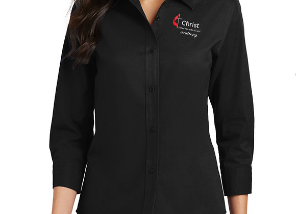 Ladies ¾ Sleeve Collared Easy Care