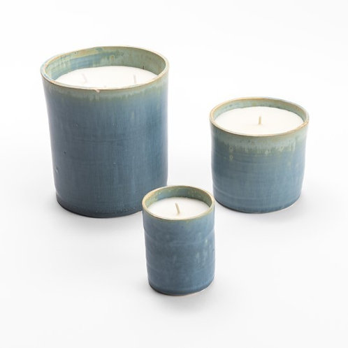 Trio of ceramic Celadon scented candles by Maison Pechavy