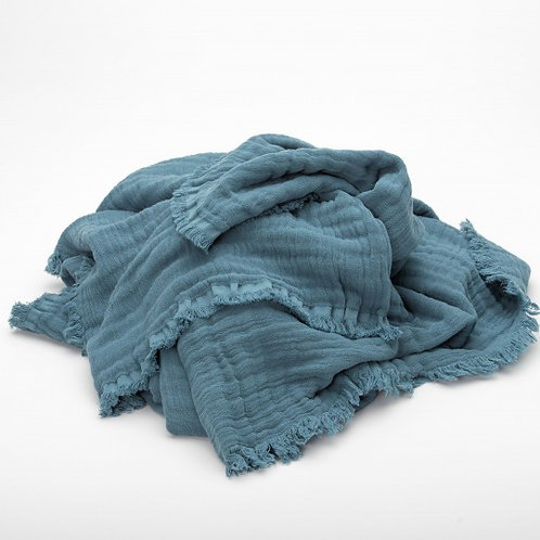 Vanly Harmony Blanket - Blue Stone by Maison Pechavy