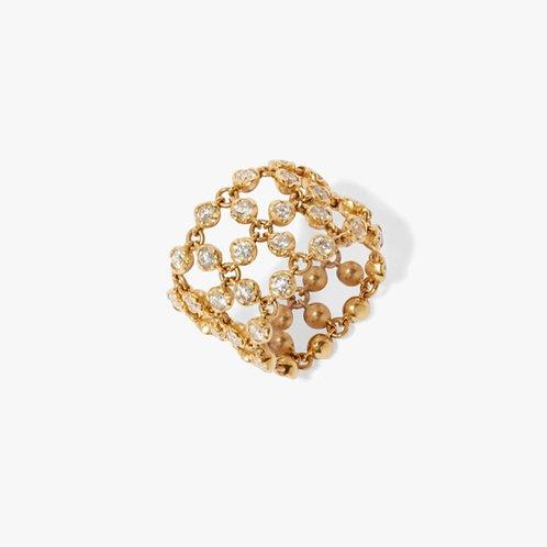 Lattice 18ct Gold Diamond Net Ring - PRE ORDER