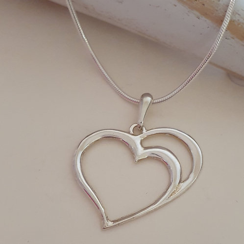 Sterling Silver Contemporary Heart Pendant & Chain