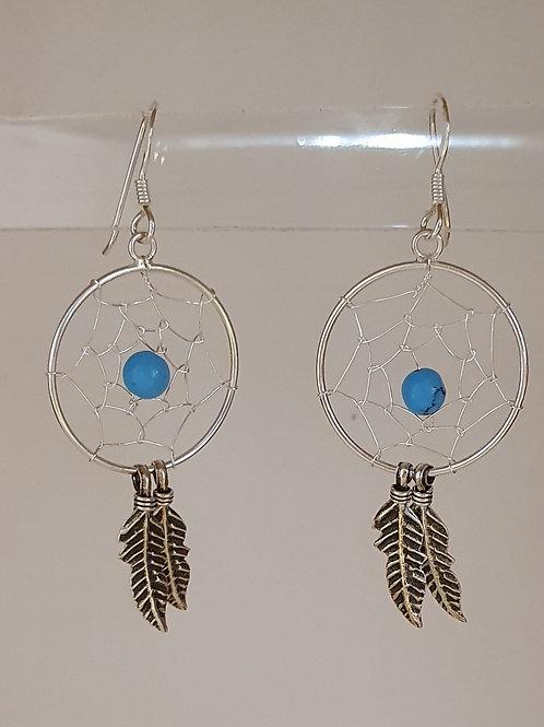 Sterling Silver & Turquoise Dream Catcher Drop Earrings