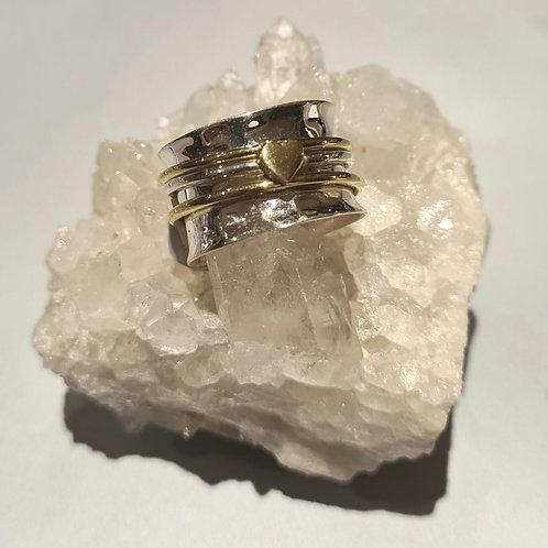 Sterling Silver Heart Spinner Ring