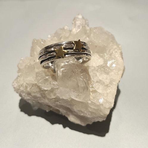 Sterling Silver & Brass Stars Spinner Ring