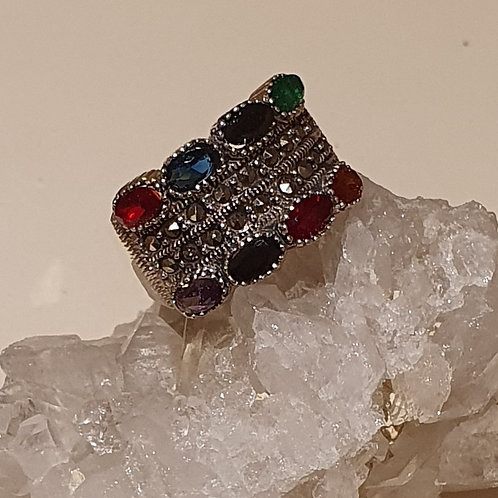Sterling Silver Marcasite Multiple Stone Ring