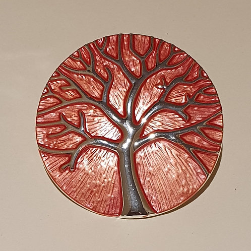 Tree of Life  Magnetic Clasp Brooch- Orange