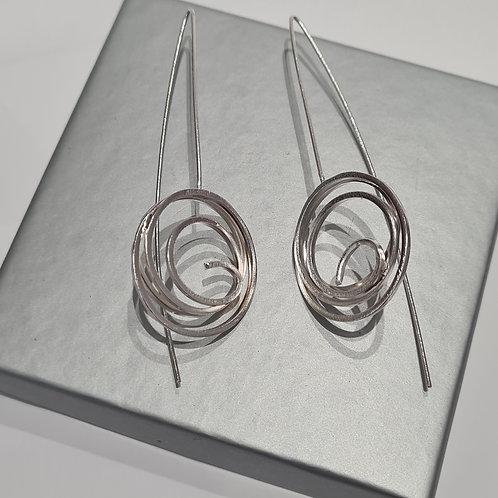 Sterling Silver Long Stem Swirl Earrings