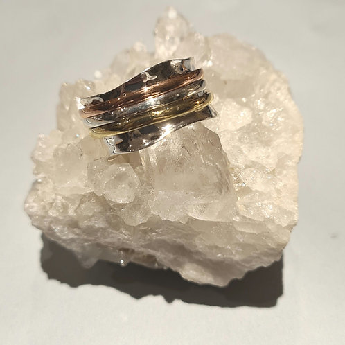 Sterling Silver Tri Colour Spinner Ring