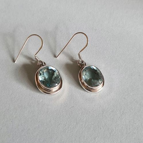 Sterling Silver Blue Topaz Oval Drop Earrings
