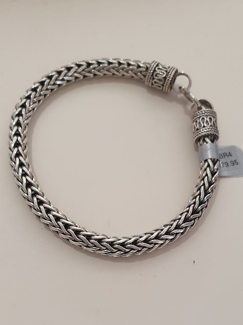 Sterling Silver Oxidised Bracelet with S Clasp