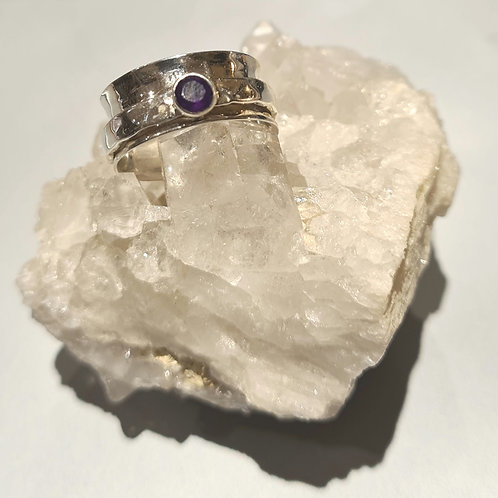 Sterling Silver & Amethyst Spinner Ring