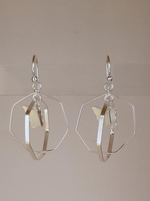 Sterling Silver Hexagonal Butterfly Drop Earrings