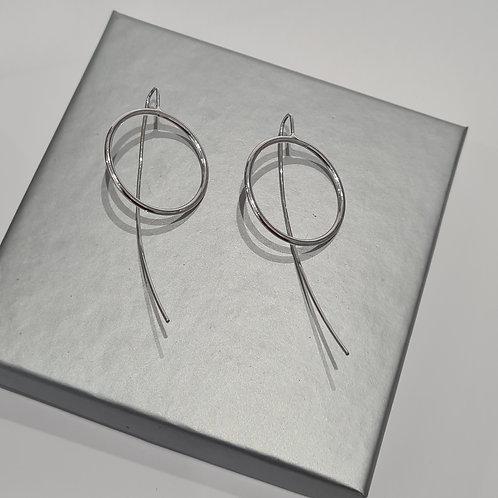 Sterling Silver Long Stem Circle Earrings