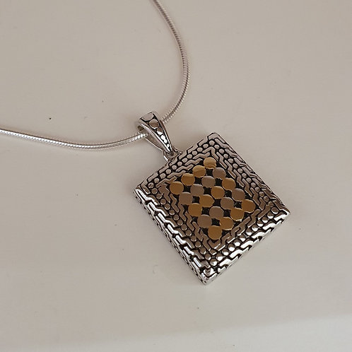 Sterling Silver & Gold Plated Square Pendant & Chain