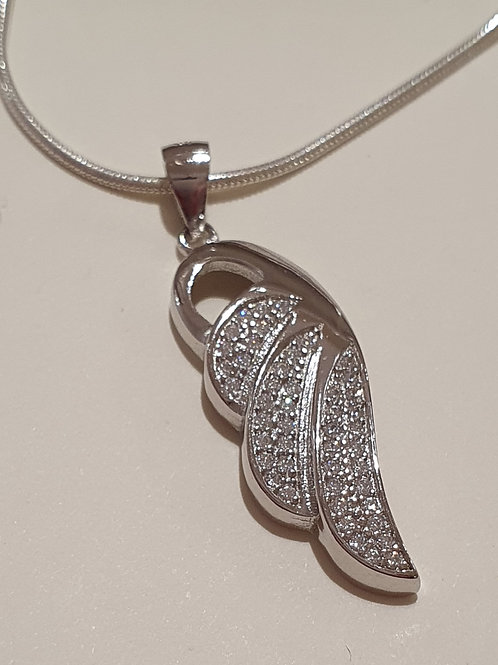 Sterling Silver CZ Angel Wing Pendant & Chain