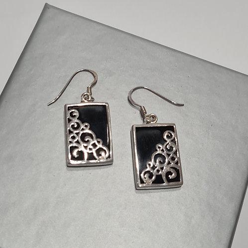 Sterling Silver & Onyx Oblong Drop Earrings