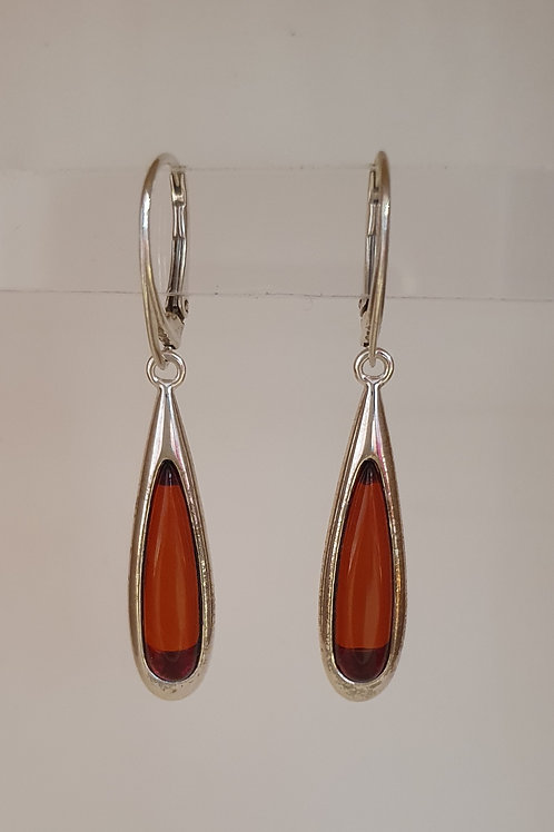 Sterling Silver & Amber Drop Earrings