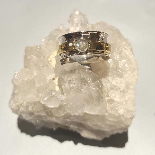Sterling Silver &  Moonstone Spinner Ring